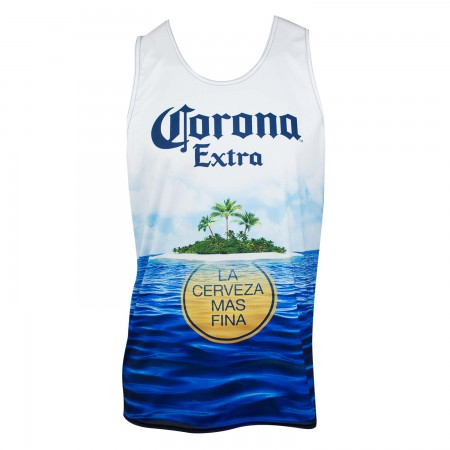 Corona Extra Men's Ocean Beach Scene Tank Top