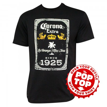 Corona Extra Beer Since 1925 Bottle Opener Men's Black T-Shirt