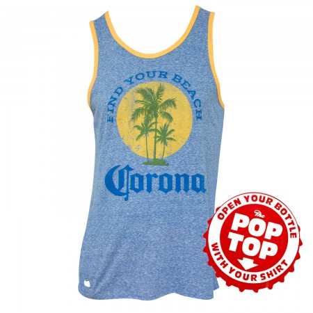 Corona Extra Find Your Beach Faded Blue Pop Top Bottle Opener Tank Top
