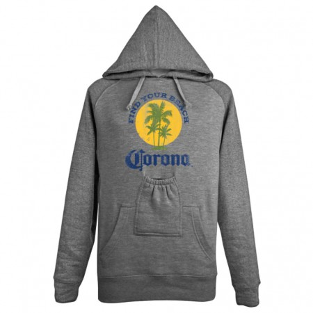 Corona Extra Men's Grey Find Your Beach Beer Pouch Hoodie