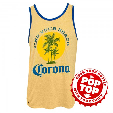 Corona Find Your Beach Bottle Opener Yellow Tank Top