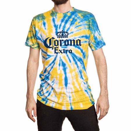 Corona Extra Logo Yellow & Blue Tie Dye T-Shirt