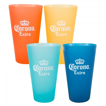 Corona Extra Plastic Multi-Colored 4-Pack Tumbler Glass Set