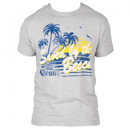 Corona Saved By The Beach Men's Grey T-Shirt