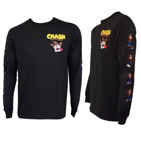 Crash Bandicoot Men's Black Long Sleeve T-Shirt