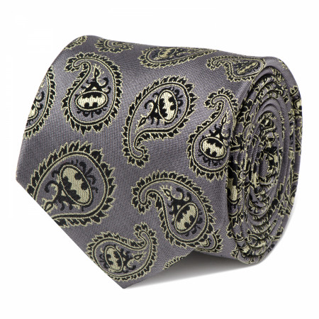 Batman Gray and Yellow Paisley Silk Tie