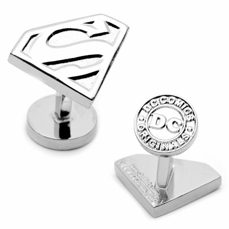 Superman Shield 3D Silver Cufflinks