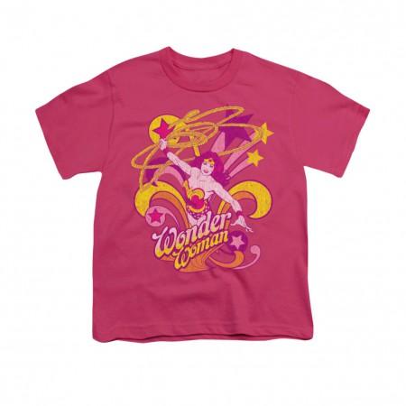 Wonder Woman Save Me Pink Youth Unisex T-Shirt