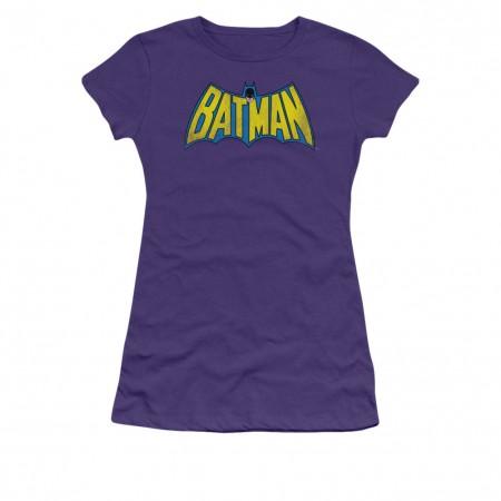 Batman Classic Logo Juniors Purple T-Shirt