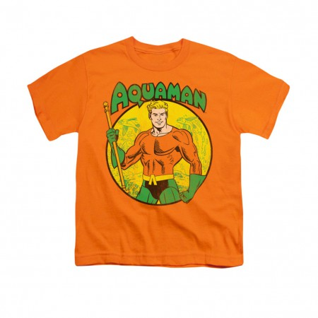 Aquaman Comic Circle Orange Youth Unisex T-Shirt