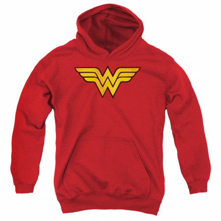 Wonder Woman Distressed Logo Youth Hoodie