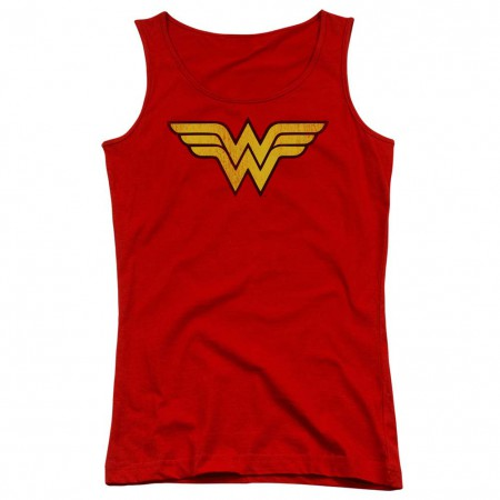 Wonder Woman Distressed Logo Red Juniors Tank Top