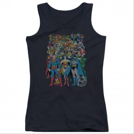 Justice League Original Universe Black Juniors Tank Top