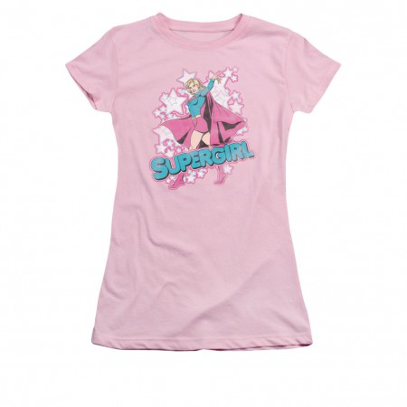 Superman Supergirl Stars Pink Juniors T-Shirt