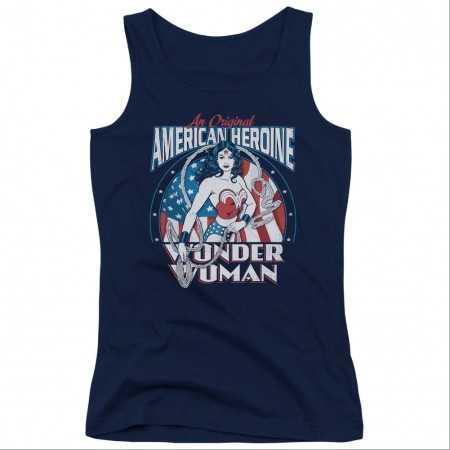 Wonder Woman American Heroine Blue Juniors Tank Top