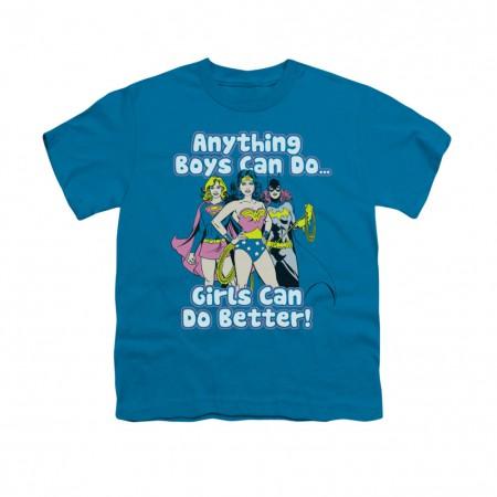 Wonder Woman Girls Do It Blue Youth Unisex T-Shirt