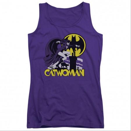 Batman Catwoman Rooftop Purple Juniors Tank Top
