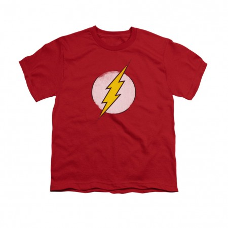 The Flash Rough Logo Red Youth Unisex T-Shirt