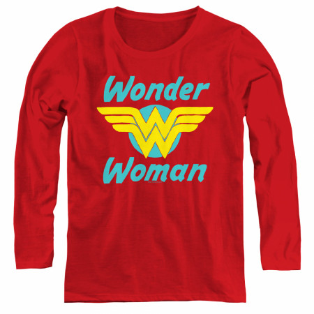 Wonder Woman Logo Women's Red Long Sleeve Shirt
