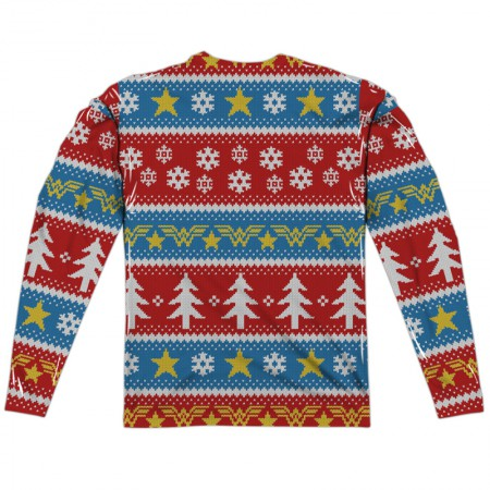 Wonder Woman Ugly Christmas Sweater Print Long Sleeve T-Shirt