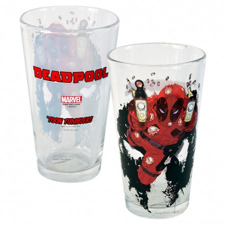 Deadpool Shooter Toon Tumbler 16 Ounce Pint Glass
