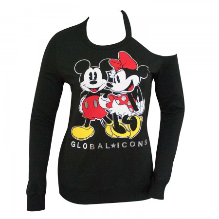 Mickey And Minnie Ladies Shoulder Cut Black Sweatshirt