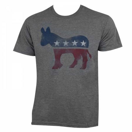 Democrat Classic Donkey Logo Men's Grey T-Shirt