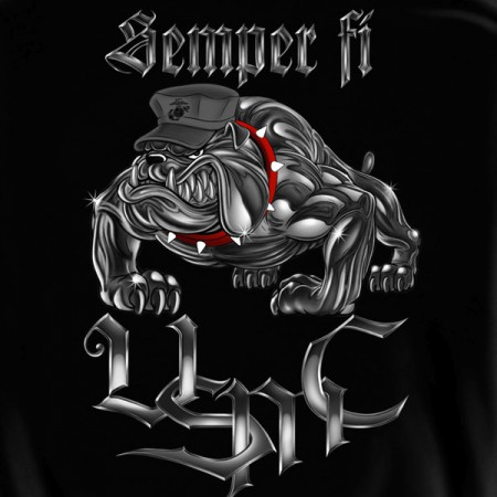 USMC Marines Semper Fi Bulldog Black Graphic Hoodie Sweatshirt FREE SHIPPING