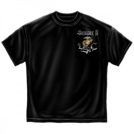 Semper Fi Marine Corps USA Patriotic Black Graphic Tee Shirt