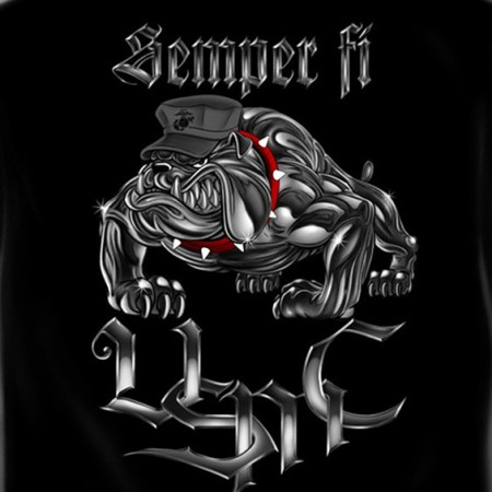 USMC Marines Semper Fi USA Patriotic Black Graphic Tee Shirt