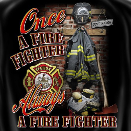 Once Always A Firefighter USA Patriotic Black Graphic T Shirt