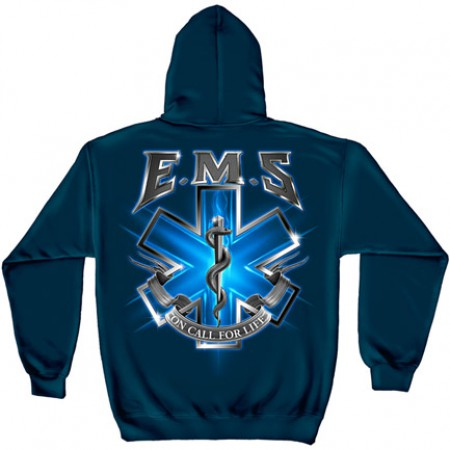 EMS On Call For Life Navy Graphic Hoodie Sweatshirt FREE SHIPPING