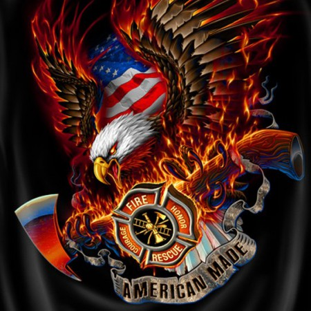 Firefighters American Made USA Patriotic Black Graphic T-Shirt