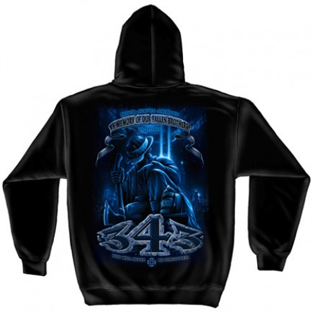 Firefighter 343 Fallen Brothers Black Graphic Hoodie Sweatshirt FREE SHIPPING