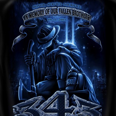 Firefighters Fallen Brothers USA Patriotic Black Graphic T-Shirt