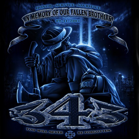 Fallen Brothers Firefighters USA Black Long Sleeve T-Shirt