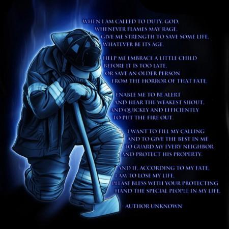 Firefighters Prayer Black Long Sleeve Graphic Tee Shirt