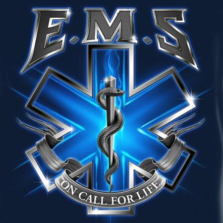 EMS On Call For Life USA Navy Long Sleeve T Shirt