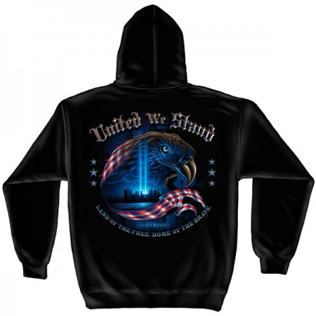 United We Stand Patriotic USA Black Graphic Hoodie Sweatshirt FREE SHIPPING