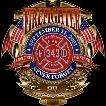 Firefighters 9/11 Never Forget USA Black Long Sleeve T-Shirt