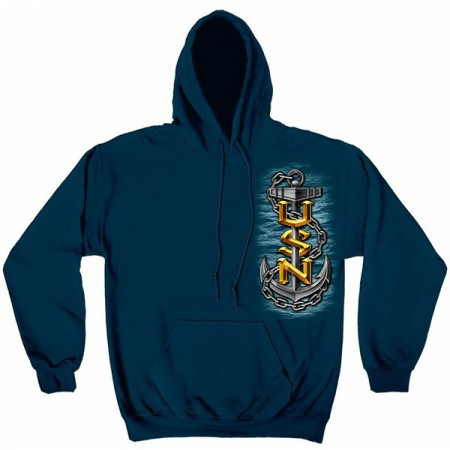 Men's Blue US Navy Hooded Sweatshirt
