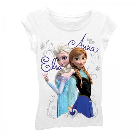 Disney Frozen White Girls 7-16 Elsa And Anna T-Shirt