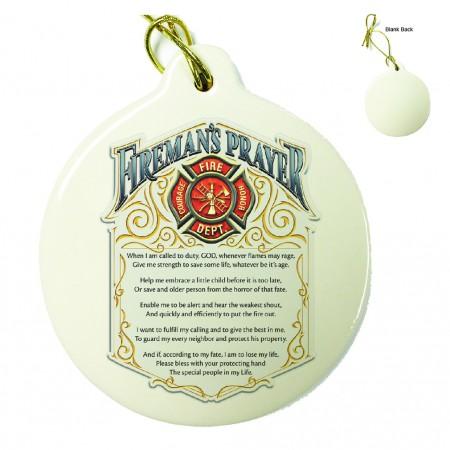 Firefighter Fireman's Prayer Porcelain Ornament