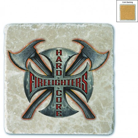 Hard Core Firefighter Stone Coaster