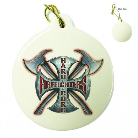 Hard Core Firefighter Porcelain Ornament