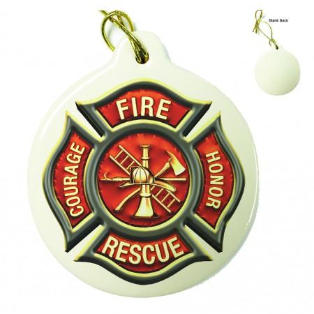 Firefighter Classic Fire Maltese Porcelain Ornament