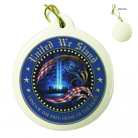 USA Patriotic United We Stand Porcelain Ornament