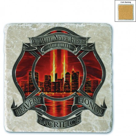 Red High Honor Firefighter Tribute Stone Coaster