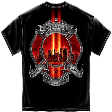 Men's Black Firefighter Never Forget Patriotic Tee Shirt