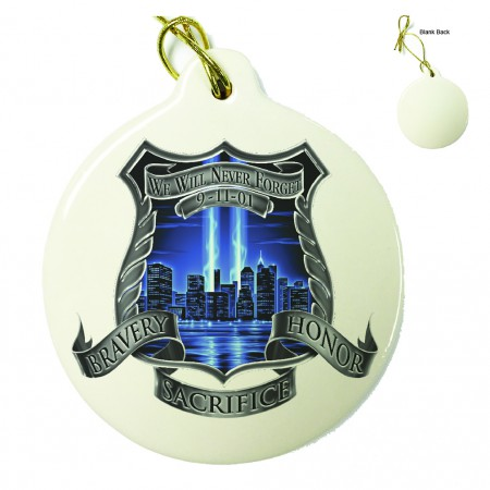 Police 911 We Will Never Forget Porcelain Ornament